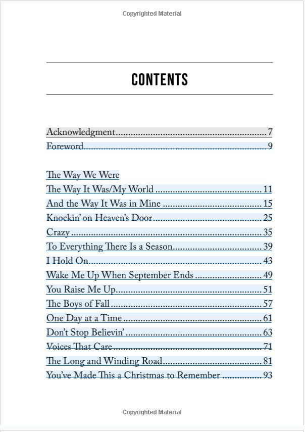 Lean On Me - Table of Contents